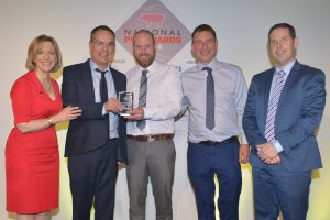 Adrian Lawson with manufacturers Techneat engineering, receive the Technical Innovation award